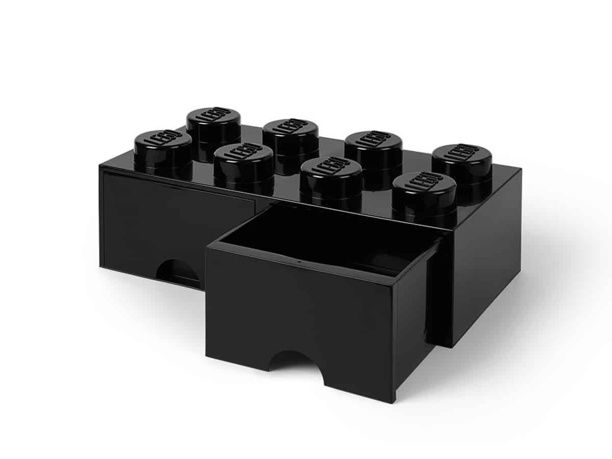 gaveta de tijolo de arrumao negra com 8 espigas lego 5006248